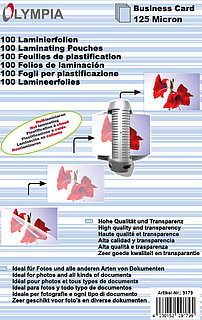 Carte de visite pellicules de plastification - 125 microns